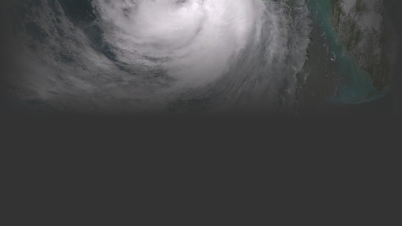 Satellite view of a hurricane.